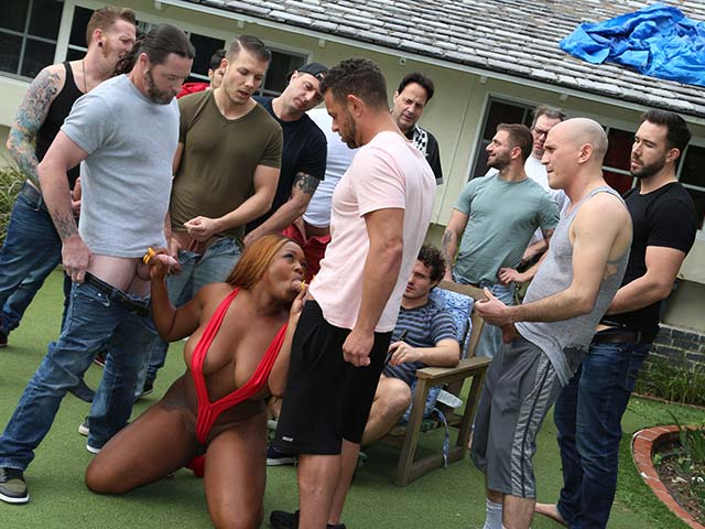 Ebony Amateur Train Gangbang