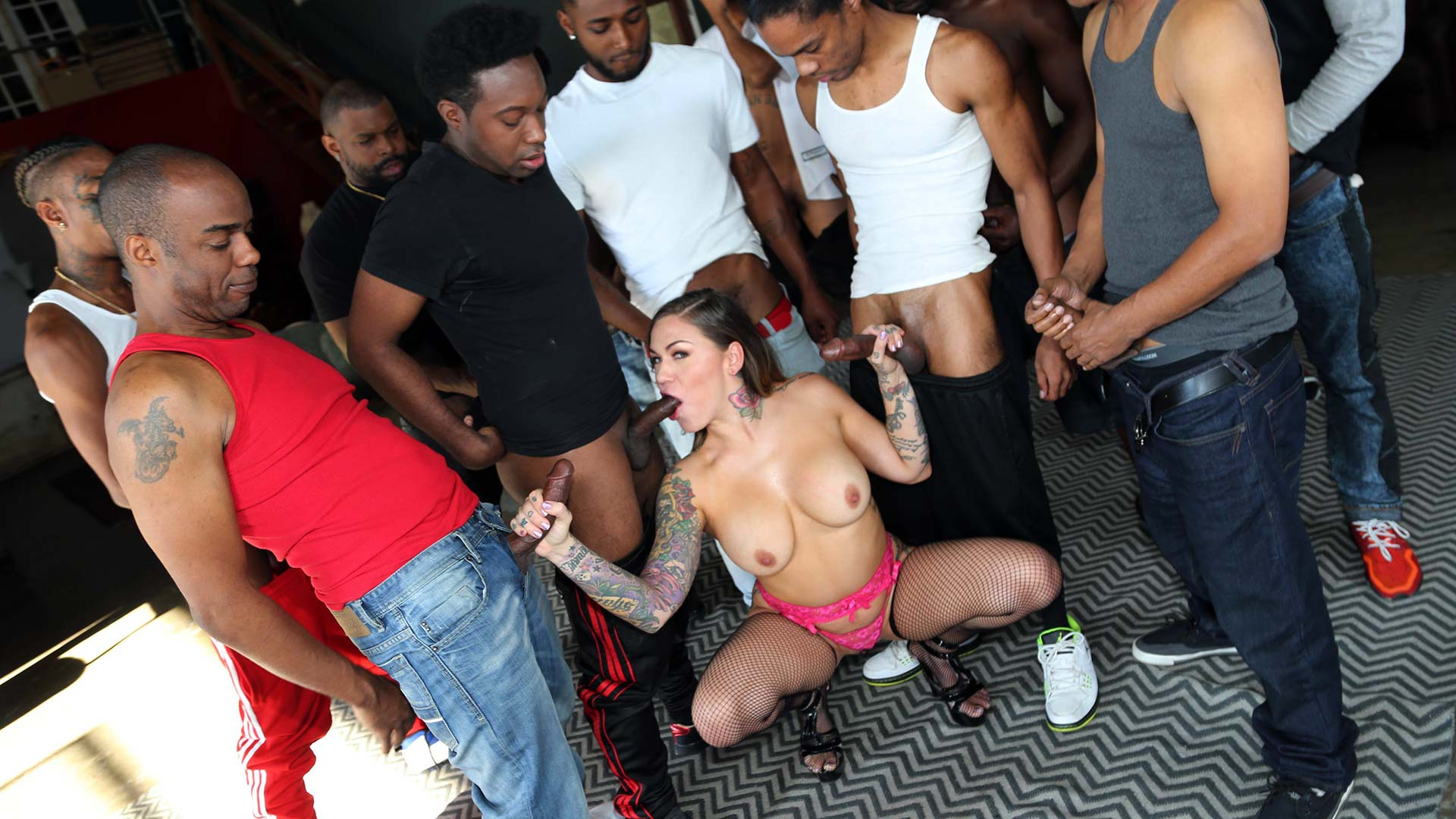 InterracialBlowbang Karmen Karma Interracial Porn